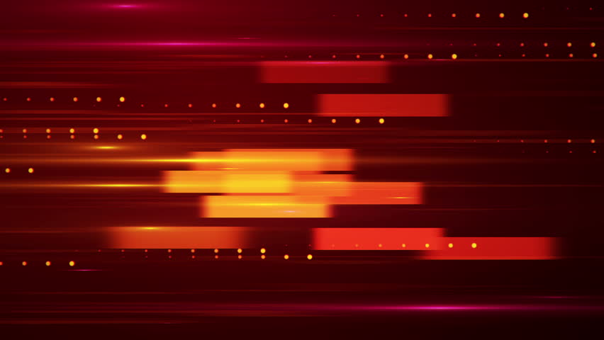 Technological background with fast motion of rectangles. Abstract background of data transfer on colorful backdrop with glow particles and light beams. Animation of seamless loop.