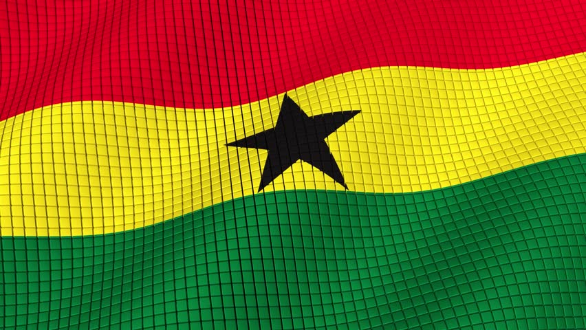 The flag of Ghana is developing waves. Looped. Full HD 1080.