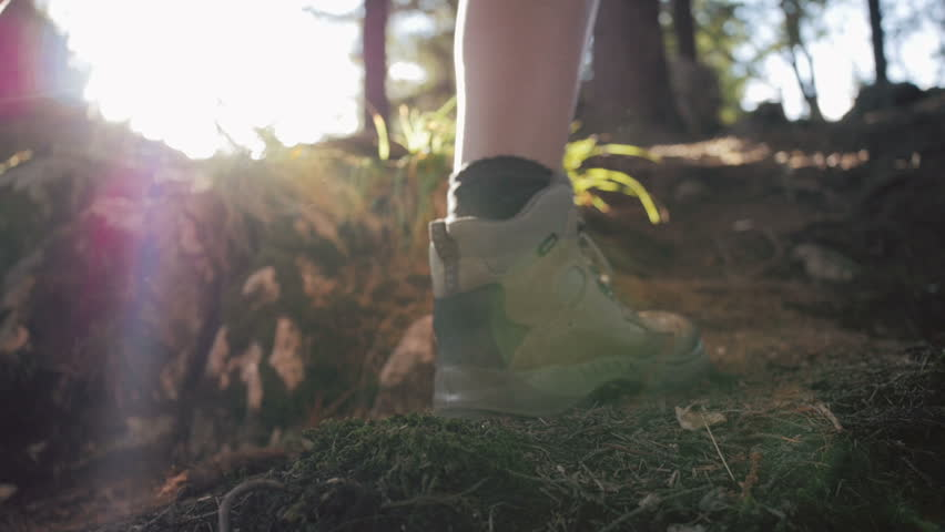 Close up of women legs hiking steep terrain in slow motion | Shutterstock HD Video #11388218