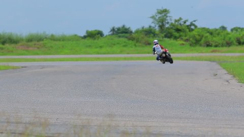 sport motorcycle in racing circuit