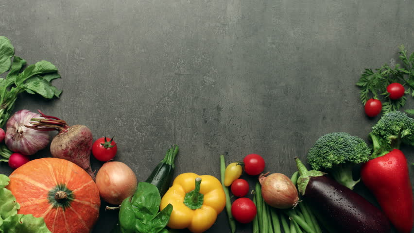 Moving vegetables on kitchen table, harvest background - stop motion animation | Shutterstock HD Video #11400329