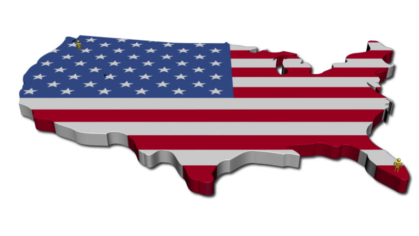 Nice Animation Of The National USA Flag In D Map Of United States - 3d us map