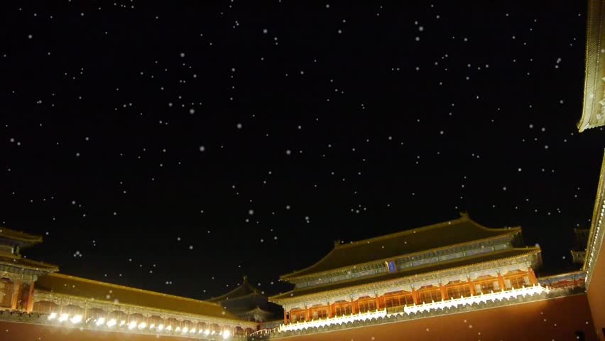 Panoramic of Beijing Forbidden City palace night in winter snow.Great Wall. gh2_03947