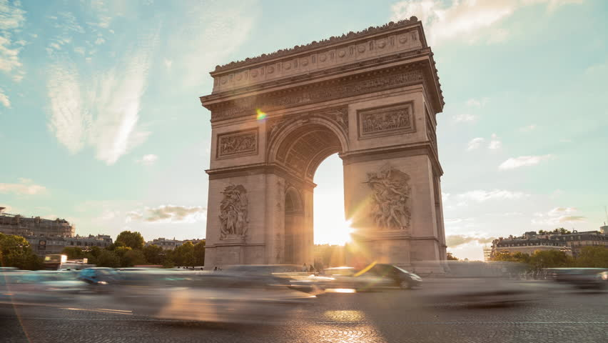 Arch Of Triumph, Evening, Paris - Time Lapse
