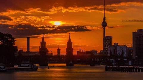 Timelapse video of Berlin Skyline at a sunset. 4K Timelapse sequence.