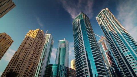 sunset day dubai marina jbr apartment buildings top panorama 4k time lapse uae