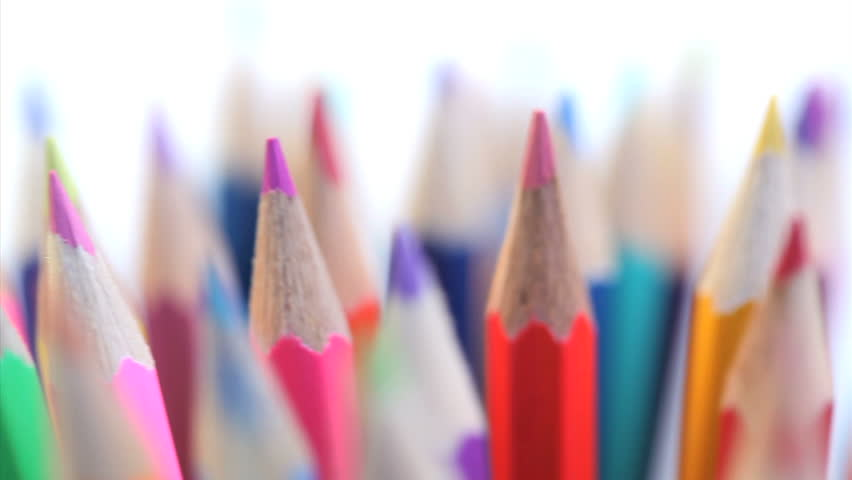 top of color pencils turning on a white background stock footage, Powerpoint templates