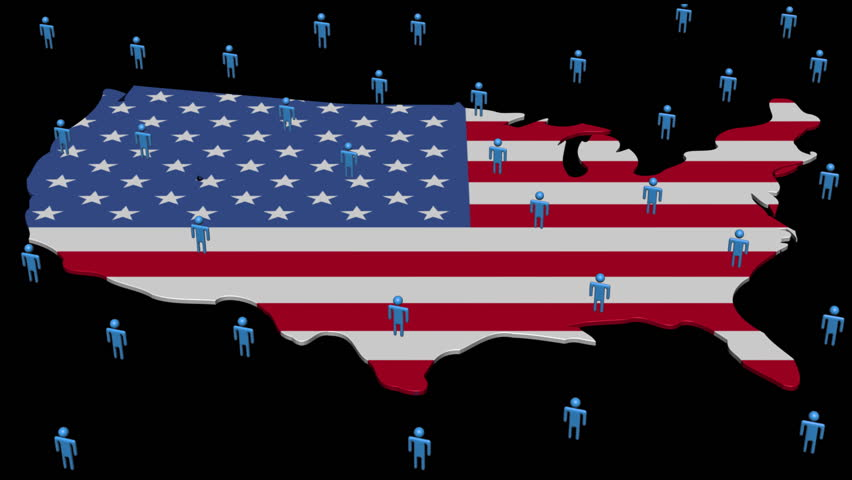 Usa Map Flag With Many Abstract People Animation Hd Stock Footage Clip