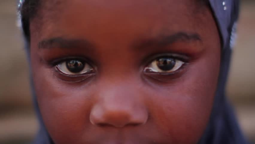 Zaria Nigeria, December 2014: Extreme close up African Muslim girl