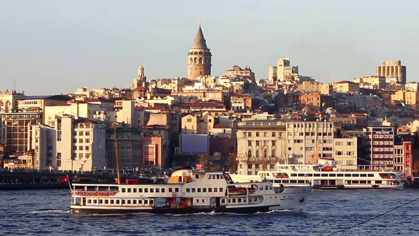 Istanbul harbor in front of Galata Tower in Istanbul