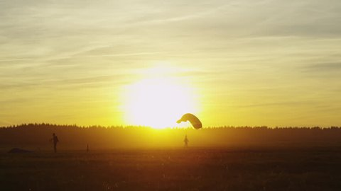 Skydivers are Landing. Shot on RED Cinema Camera in 4K (UHD).