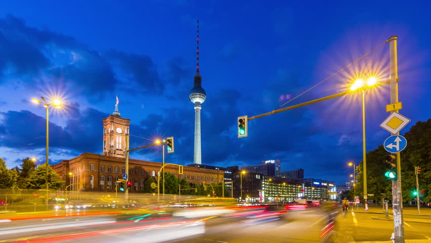 Timelapse with traffic on road at Alexanderplatz, Berlin.