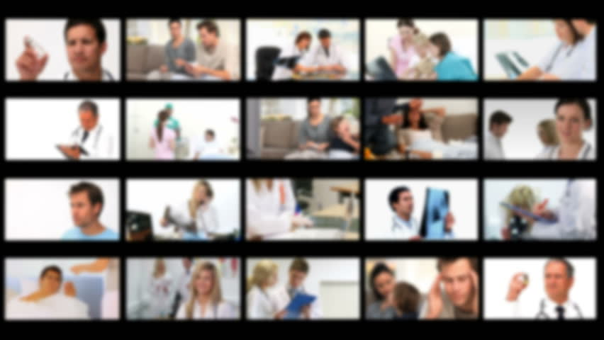 Montage of ill persons at the hospital and at home