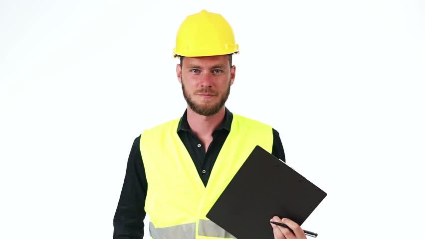 Delightful Stock Video Clip Of Satisfied Constructor Engineer Man Taking Note  Examining | Shutterstock