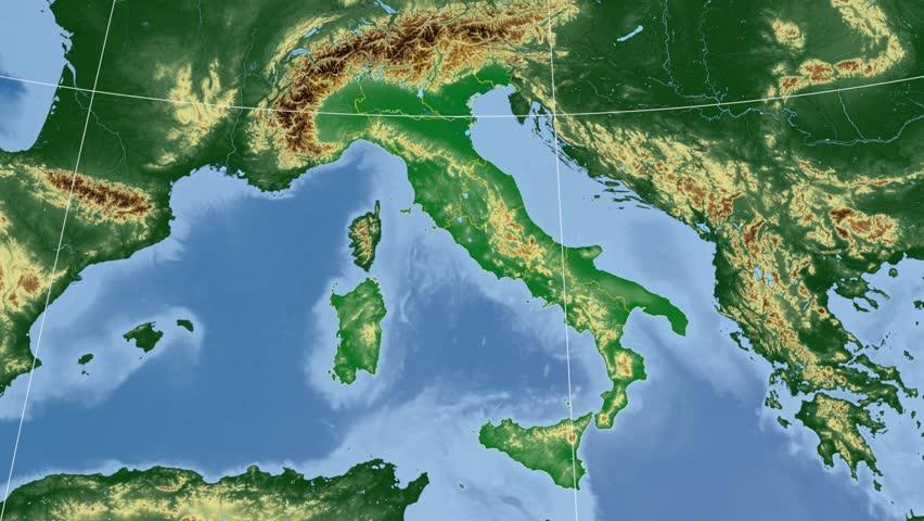 Sicily Autonomous Region Extruded On The Physical Map Of Italy - Physical map of italy