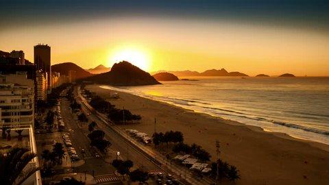 Copacabana beach sunrise timelapse, in Rio de Janeiro, Brazil. (for the 4k version, search for Clip ID 11696096)