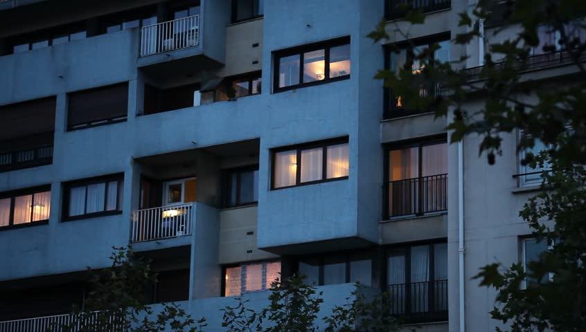 Abstract apartment building establishing shot at night | Shutterstock HD Video #11669807