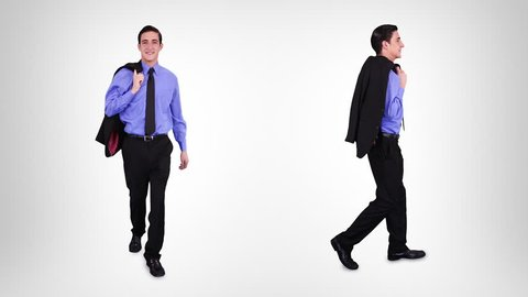 Businessman walking with alpha matte. 2 in 1. Lateral and frontal view. More options in my portfolio.