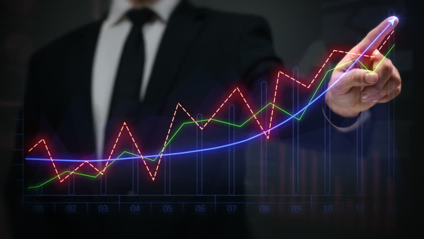 Businessman drawing an ascending financial chart. Touchscreen. 2 in 1 file. Multicolored-blue. Businessman drawing a bright arrow showing increasing profits in a financial chart. Business success. | Shutterstock HD Video #11727425