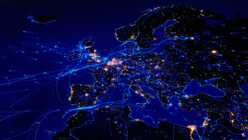 World map with connections. European and North American map with bright connections and city lights. Aerial, maritime, ground routes and country borders. 2 shots in 1 file. Blue. | Shutterstock HD Video #11727875
