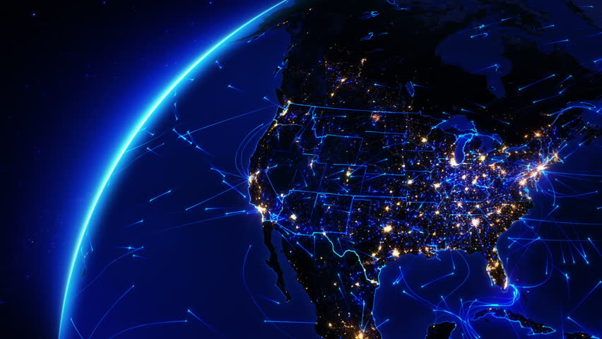 Earth bright connections and city lights. From the Unite States to Europe. Aerial, maritime, ground routes and country borders. Blue. Images courtesy of http://www.nasa.gov