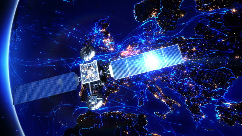 Satellite sending signals to Earth. Europe. Animation of the Earth with bright connections and city lights. Aerial, maritime, ground routes and country borders. 2 shots in 1 video. Blue.