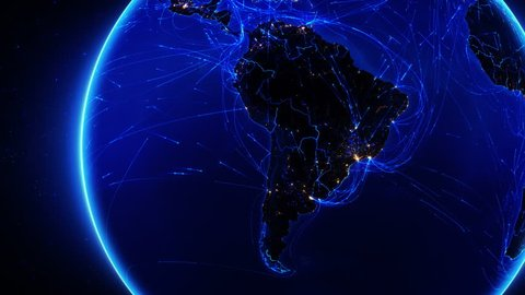 Earth bright connections with city lights. South America. Aerial, maritime, ground routes and country borders. 2 shots in 1 file. Locked and dolly. Blue. Images courtesy of http://www.nasa.gov