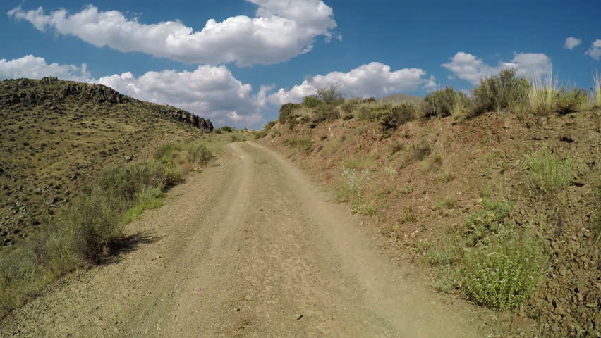 Off-road riding on a mountainous road