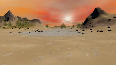 Modern house animation, there are trees and stones in the mountain, under the fantastic sky.