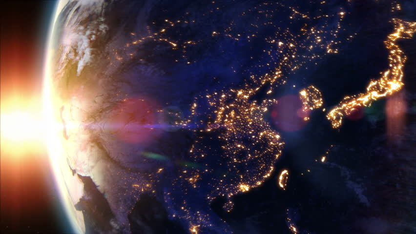 Sunrise Over Asia Earth Seen From Space Beautiful View Of Asia - World map from outer space