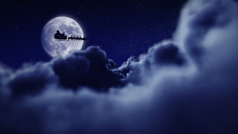 Santa flying over full moon. 2 videos in 1 file. Santa Claus and his reindeers flying in the sky. Holiday background.