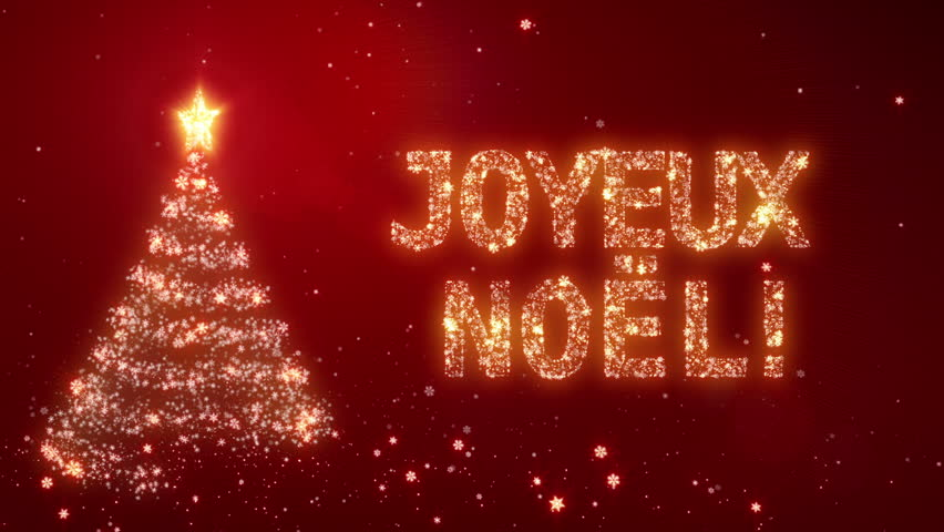 christmas background with bright snow background with the words merry christmas in different languages french version loopable from frame 391 to the end