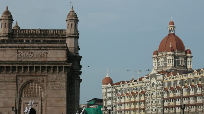 Mumbai, India: September 8,2015: 4K footage of Gateway of India and Hotel Taj Mahal Palace, shot from a Ferry boat on September 8, 2015.