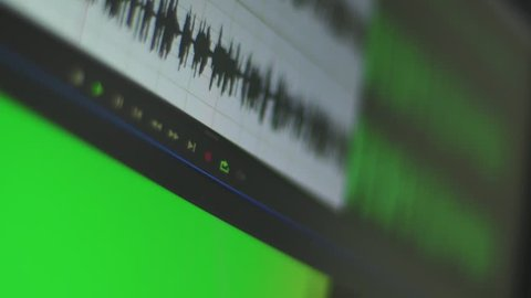 Audio waves on a computer screen - Voice recording for music - recording studio or radio