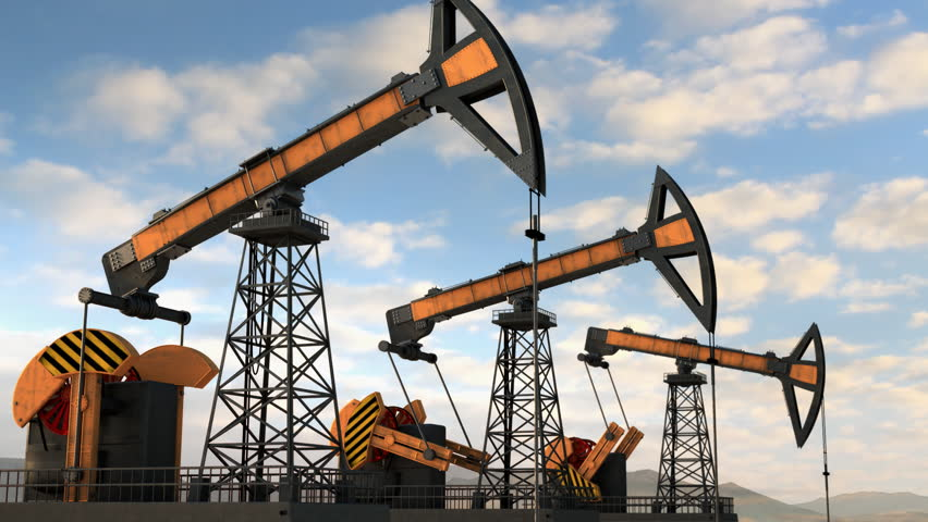 Three working oil rigs. Loop. Matte and Object-ID included.
