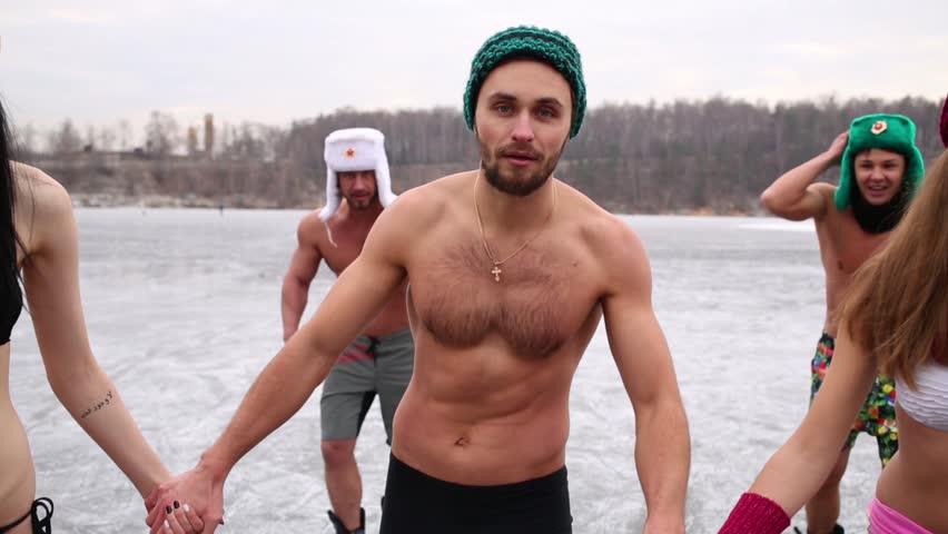 Naked men on ice