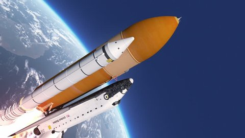 Space Shuttle Takes Off. 3D Animation.