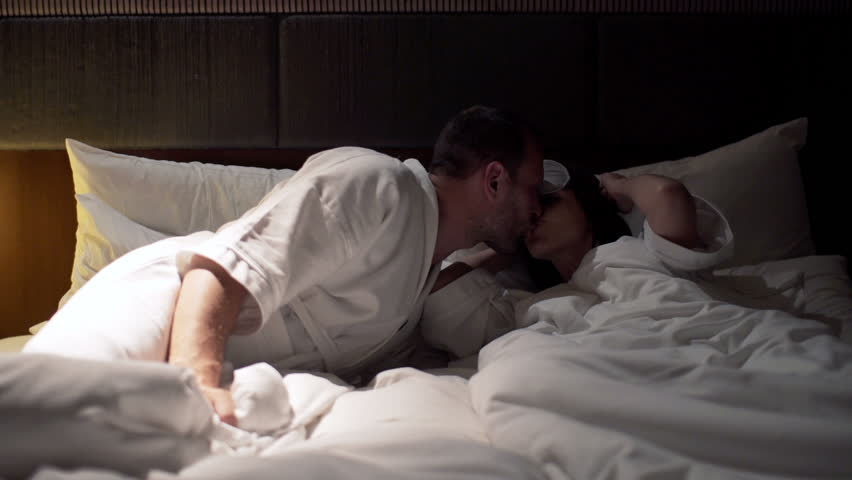 Young Couple Kissing For Goodnight Stock Footage Video 100