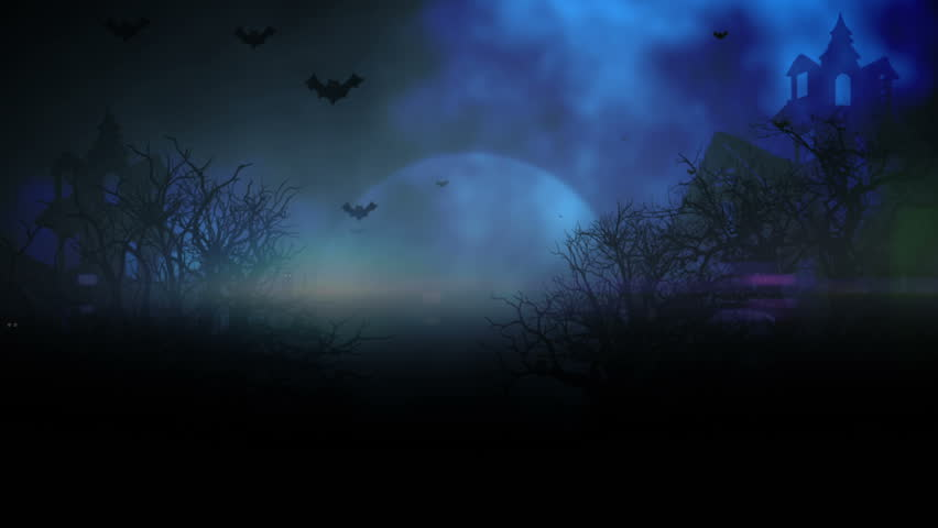 Animated stylish background useful for halloween,spooky, scary, haunted, eerie, ghost, or terror. background with the elements during Halloween such as, ghost, bats, pumpkins, and so on