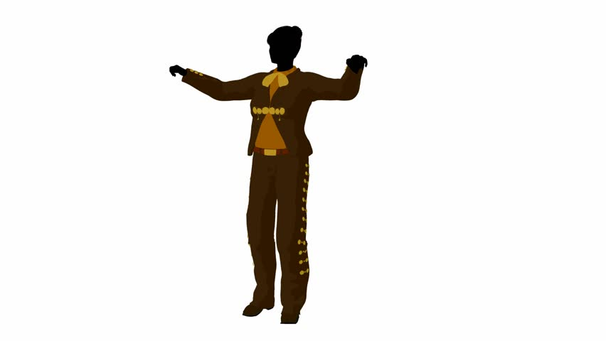 stock video of female mariachi illustration silhouette
