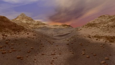 Desert animation, a rocky landscape, mountains and stones everywhere.