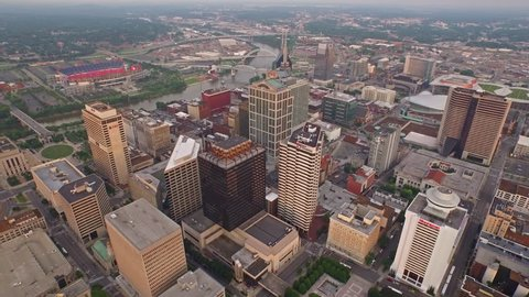 Aerial video of Nashville Tennessee.