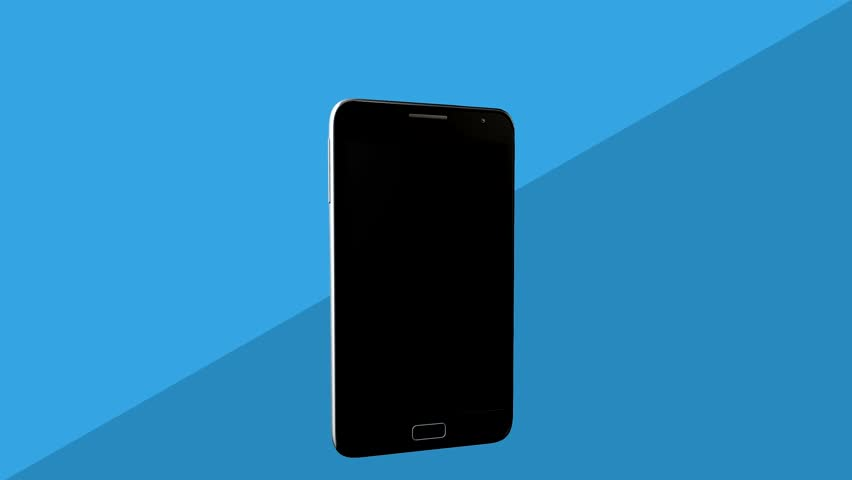 Spinning beautiful modern smartphone on blue background lovely coin appears on a smartphone screen animation hd stock footage clip voltagebd Images
