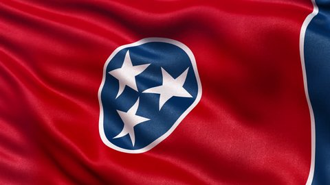 Realistic Ultra-HD Tennessee state flag waving in the wind. Seamless loop with highly detailed fabric texture. Loop ready in 4k resolution.