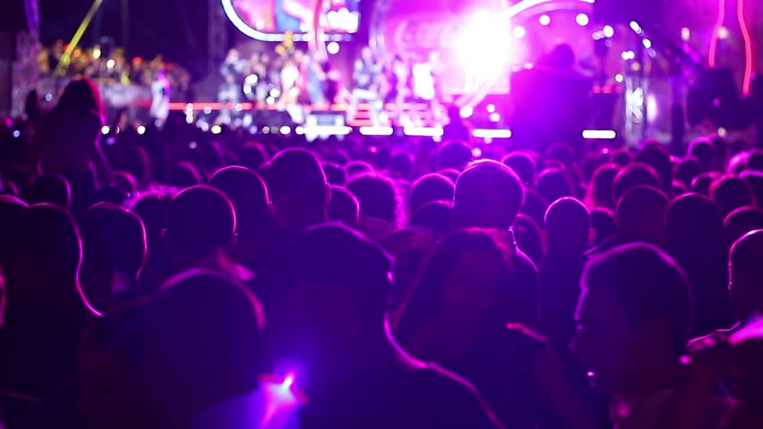 Sofia, Bulgaria - 20 September 2015: Free open air pop concert - many people clap waving and singing #11883665