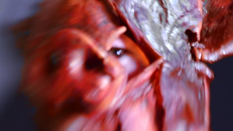 Strange Surreal Shot of a Woman Wearing a Creepy Pig Mask