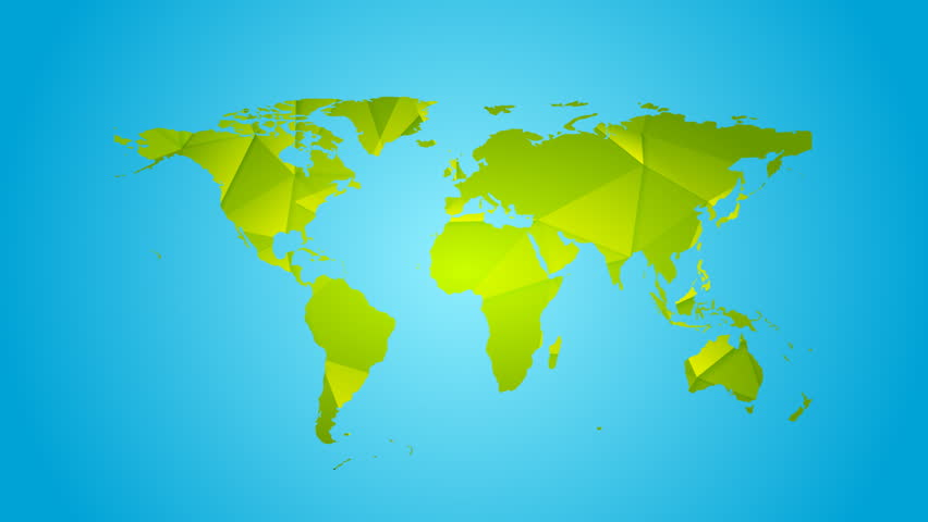 Camera zooms in from total worldmap view to the continents africa green polygonal earth map on blue background video animation hd 1920x1080 hd stock video gumiabroncs