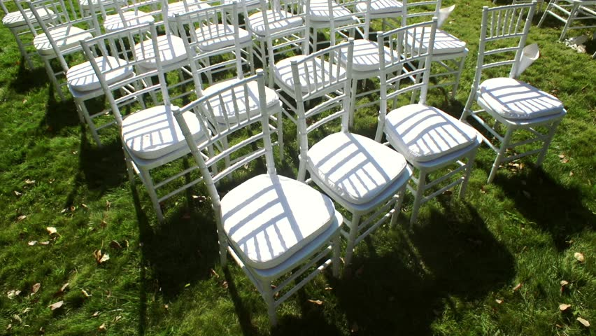 White Chairs At A Wedding Indoor Stock Photo: Wedding Aisle Decor. White Wedding Stock Footage Video