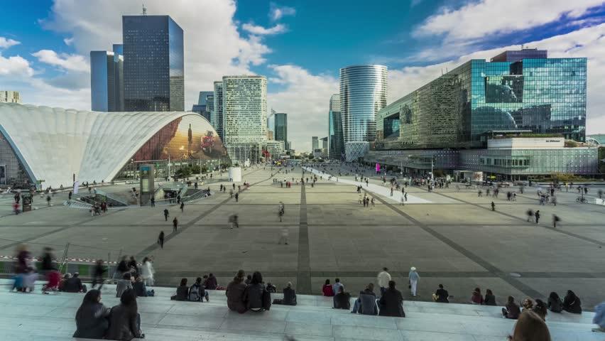La defense, Parvis de la Defense, crowd of people ,Paris, building business, economy, cloud, timelapse, camera move