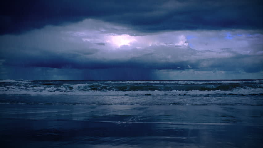 storm on the sea with lightning